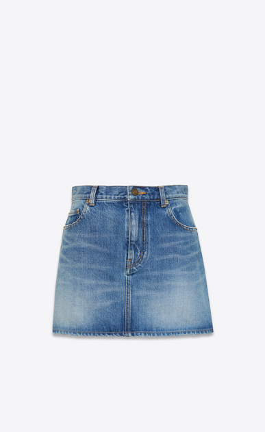 SAINT LAURENT Short Skirts D Embroidered mini skirt in blue denim a_V4