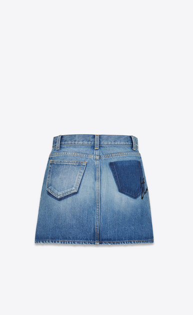 SAINT LAURENT Short Skirts D Embroidered mini skirt in blue denim b_V4