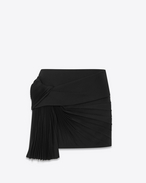 SAINT LAURENT Short Skirts D Mini skirt with a pleated band in black gabardine f