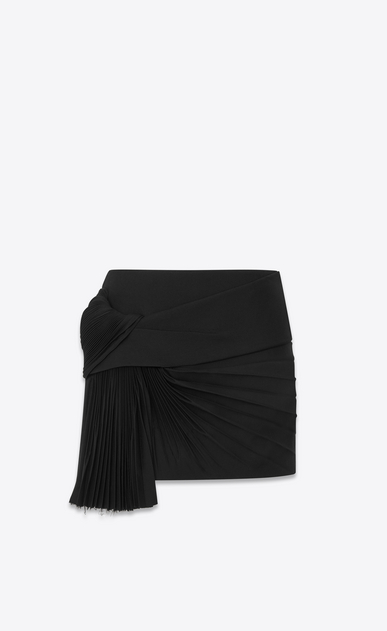 SAINT LAURENT Short Skirts D Mini skirt with a pleated band in black gabardine a_V4