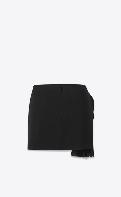 SAINT LAURENT Short Skirts D Mini skirt with a pleated band in black gabardine b_V4