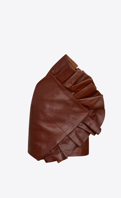 SAINT LAURENT Short Skirts D Asymmetrical mini skirt with ruffles in shiny camel-color vintage leather a_V4