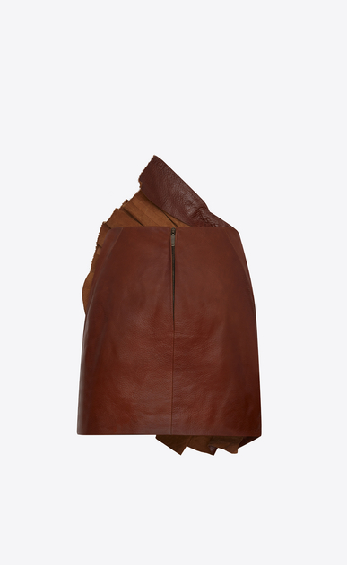 SAINT LAURENT Short Skirts D Asymmetrical mini skirt with ruffles in shiny camel-color vintage leather b_V4