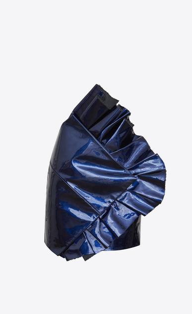 SAINT LAURENT Short Skirts D Asymmetrical mini skirt with ruffles in metallic glazed blue leather v4