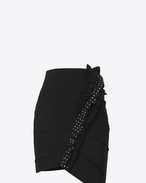 SAINT LAURENT Short Skirts D Asymmetrical mini skirt with ruffles in black gabardine with crystals f
