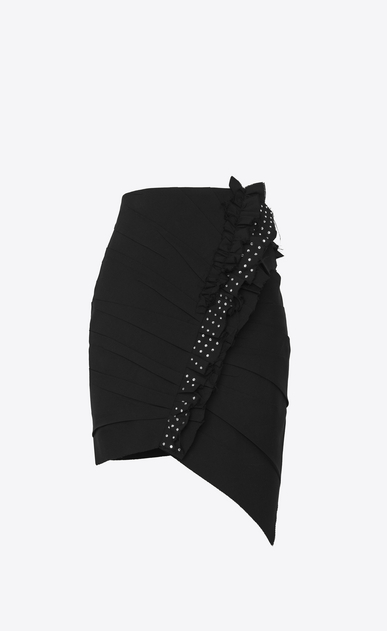 SAINT LAURENT Short Skirts Woman Asymmetrical mini skirt with ruffles in black gabardine with crystals a_V4