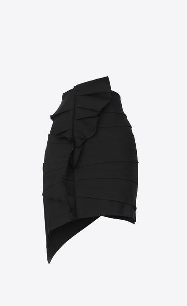 SAINT LAURENT Short Skirts Woman Asymmetrical mini skirt with ruffles in black gabardine with crystals b_V4