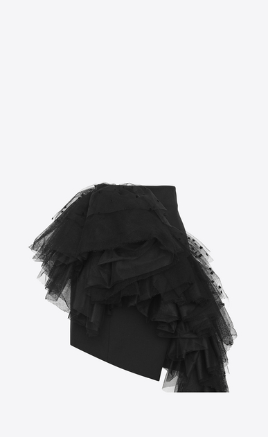 SAINT LAURENT Short Skirts Woman Asymmetrical mini skirt in black gabardine with mesh ruffles with hearts a_V4