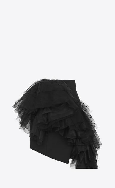 SAINT LAURENT Short Skirts D Asymmetrical mini skirt in black gabardine with mesh ruffles with hearts v4