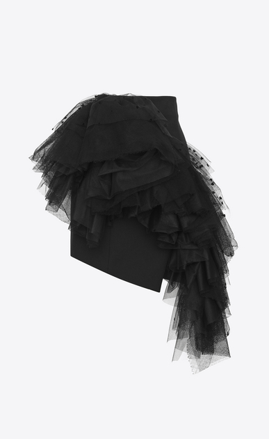 SAINT LAURENT Short Skirts Woman Asymmetrical mini skirt in black gabardine with mesh ruffles with hearts b_V4