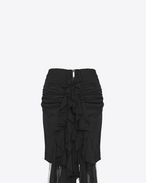 SAINT LAURENT Short Skirts D Zipped mini skirt with ruffles in black silk muslin f