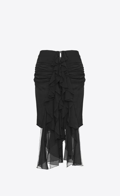 SAINT LAURENT Short Skirts Woman Zipped mini skirt with ruffles in black silk muslin a_V4