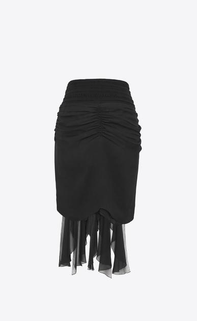SAINT LAURENT Short Skirts Woman Zipped mini skirt with ruffles in black silk muslin b_V4