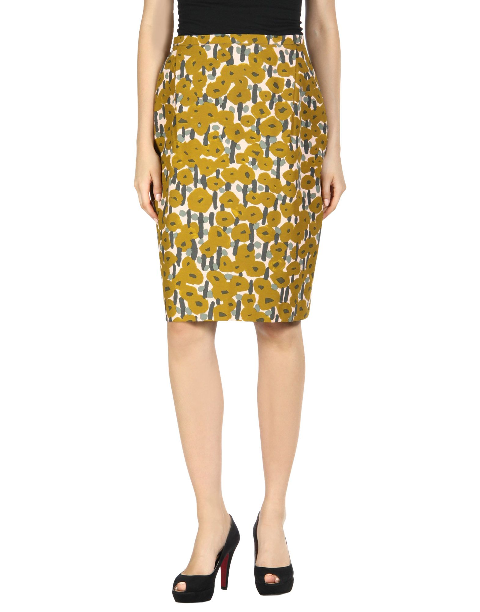 MINÄ PERHONEN Knee Length Skirt in Ocher