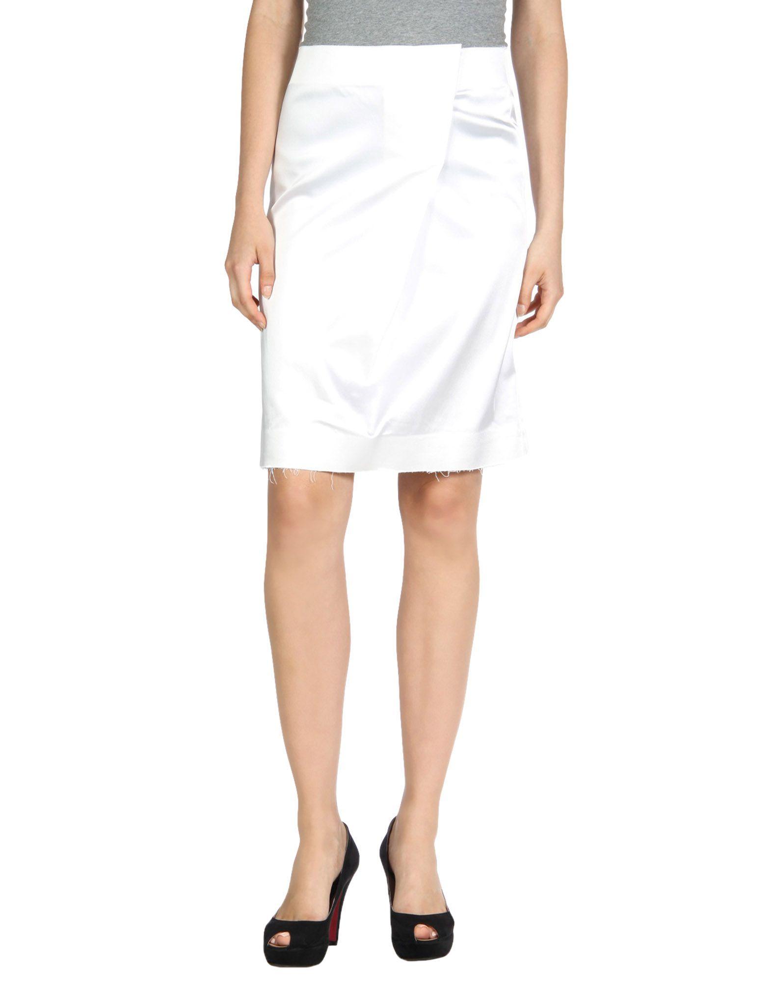 BACK Knee Length Skirts in White