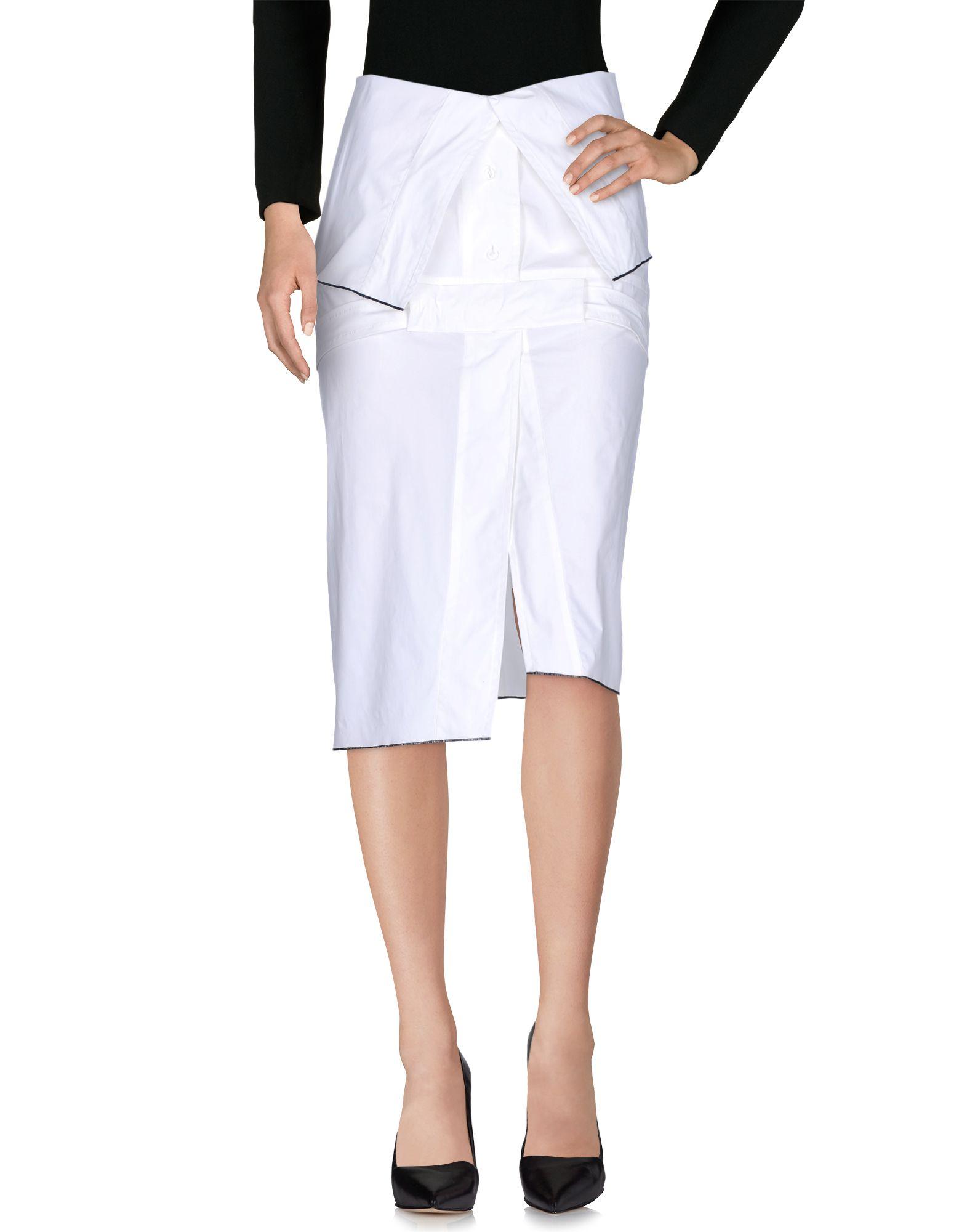 HAAL Knee Length Skirts in White