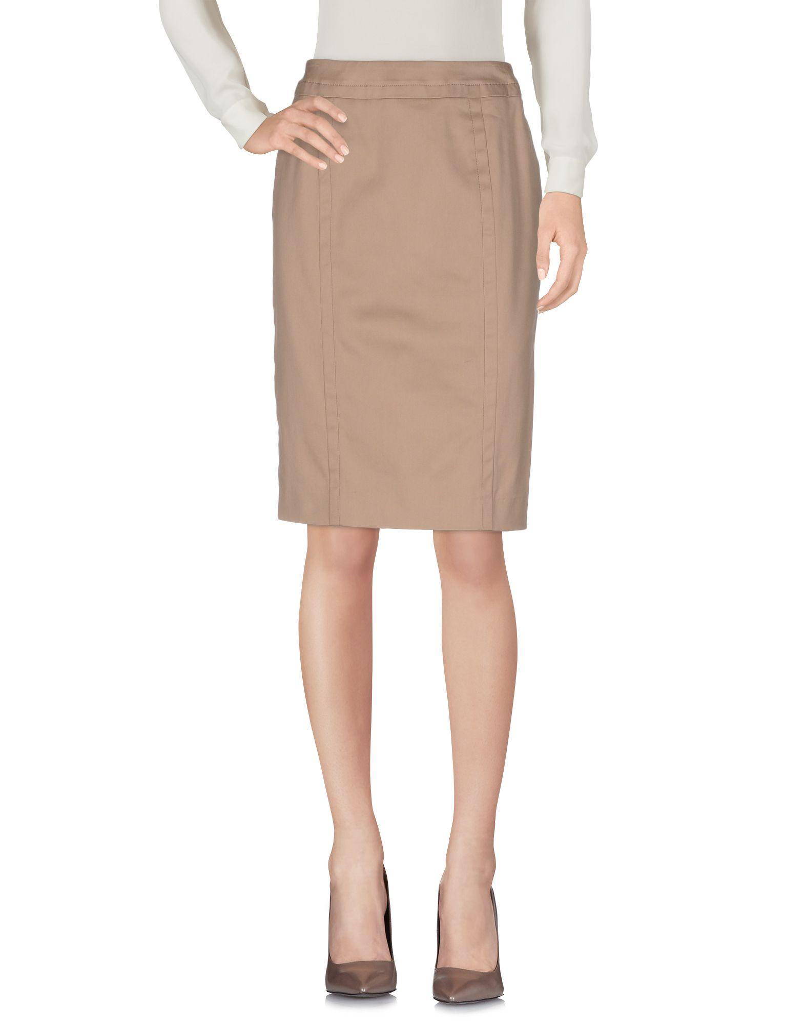 《送料無料》GILLES DUFOUR レディース ひざ丈スカート ベージュ 40 コットン 70% / ナイロン 28% / ポリウレタン 2%