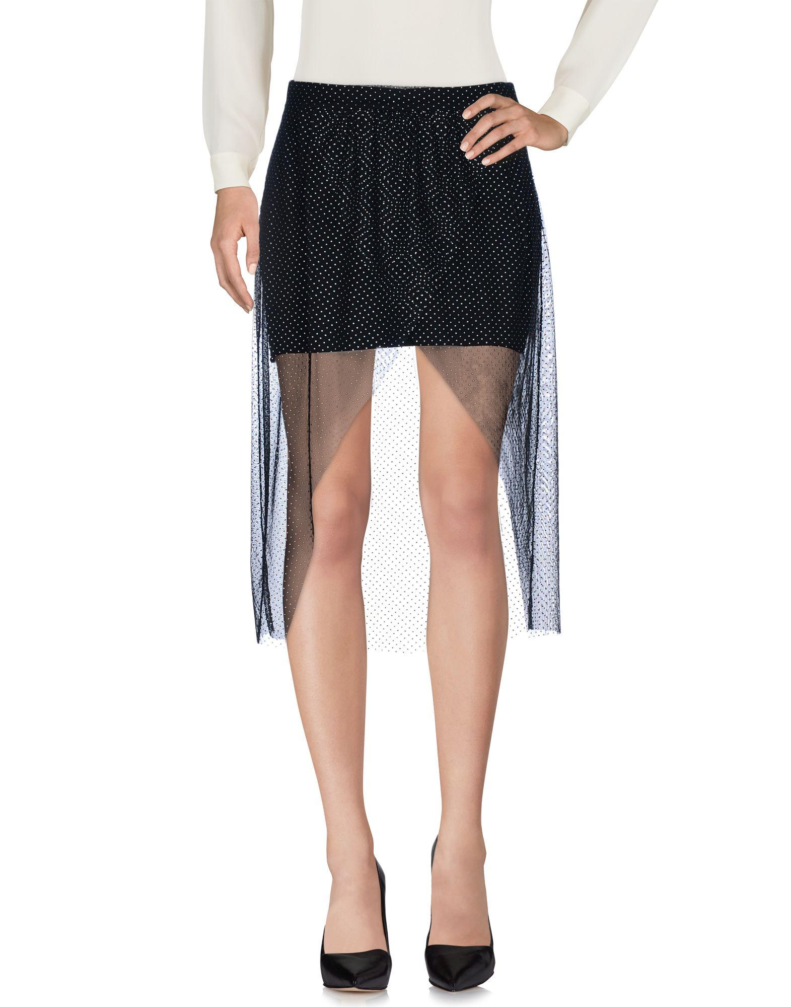 WHITE * 3/4 Length Skirts in Black