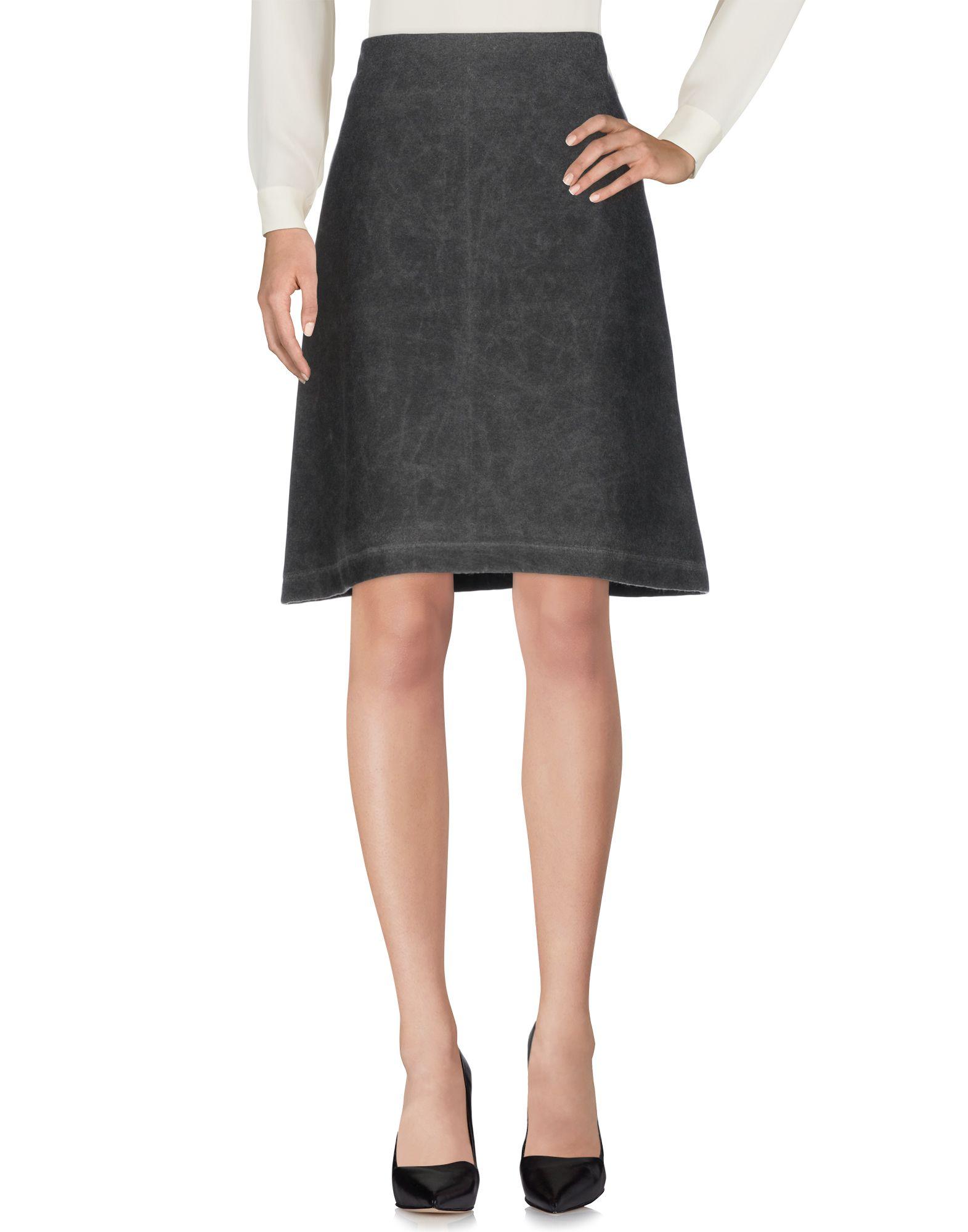 YOSHI KONDO Knee Length Skirt in Lead
