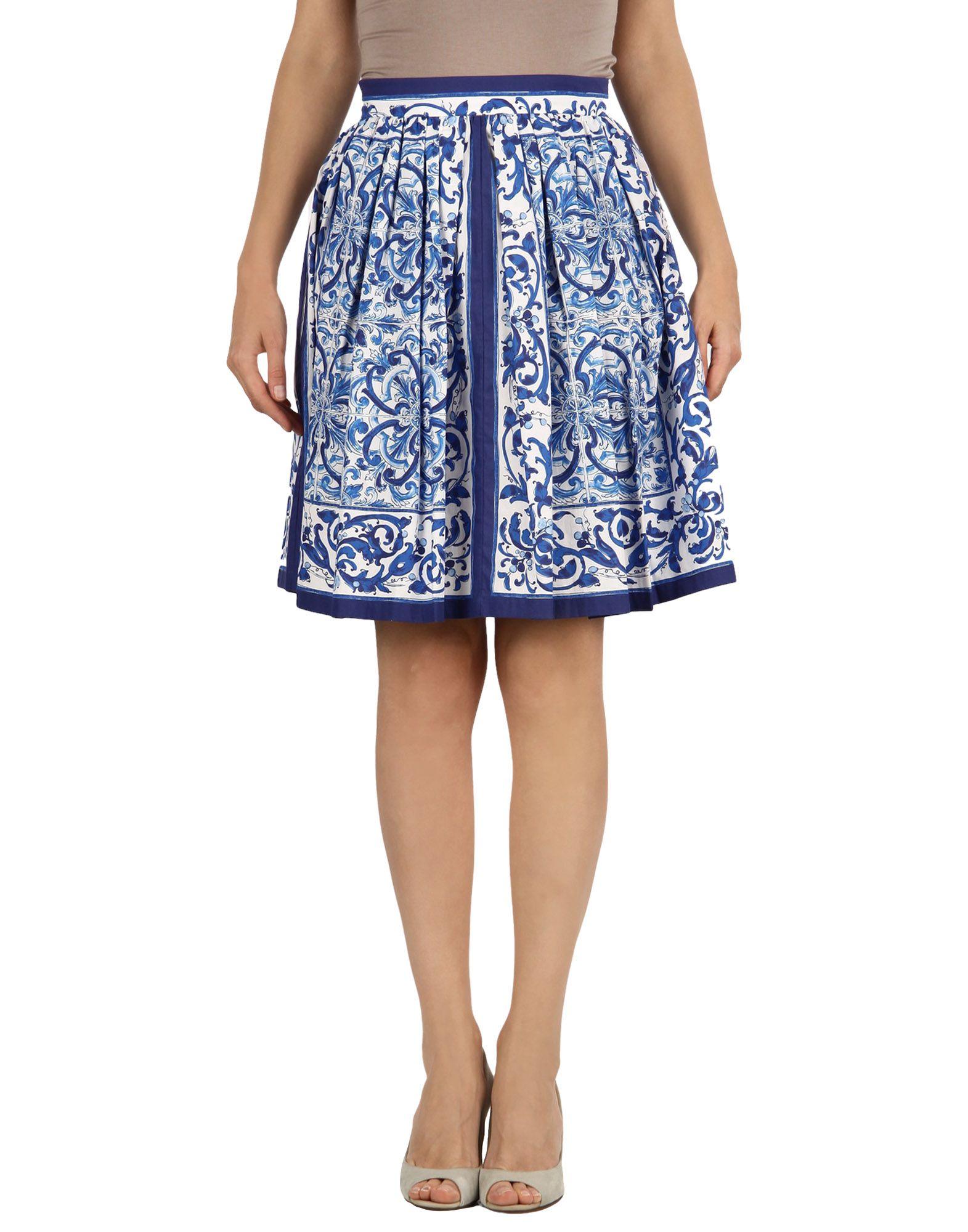 《セール開催中》DOLCE & GABBANA レディース ひざ丈スカート ブルー 36 コットン