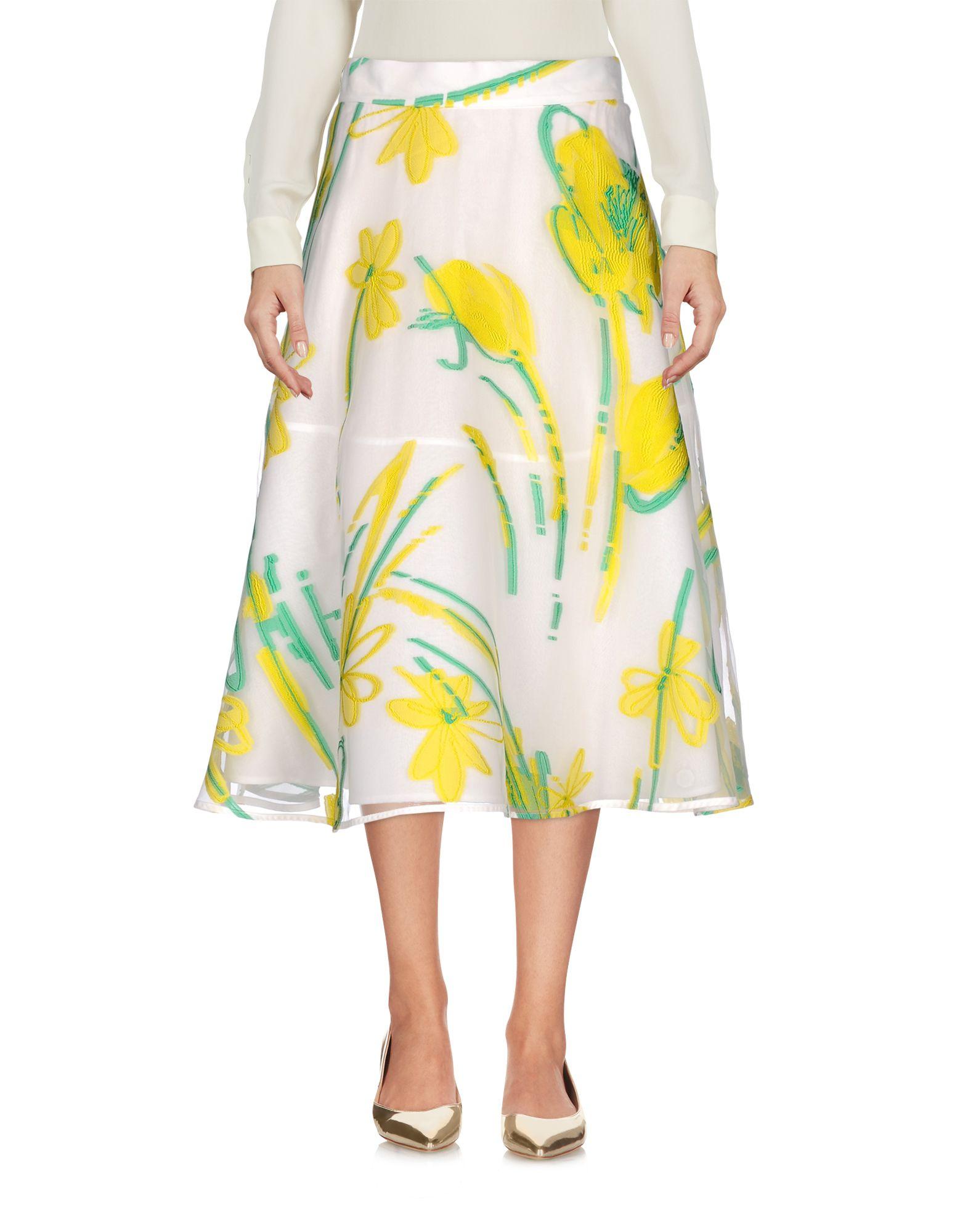 P.A.R.O.S.H. Damen Midirock Farbe Gelb Größe 4 jetztbilligerkaufen