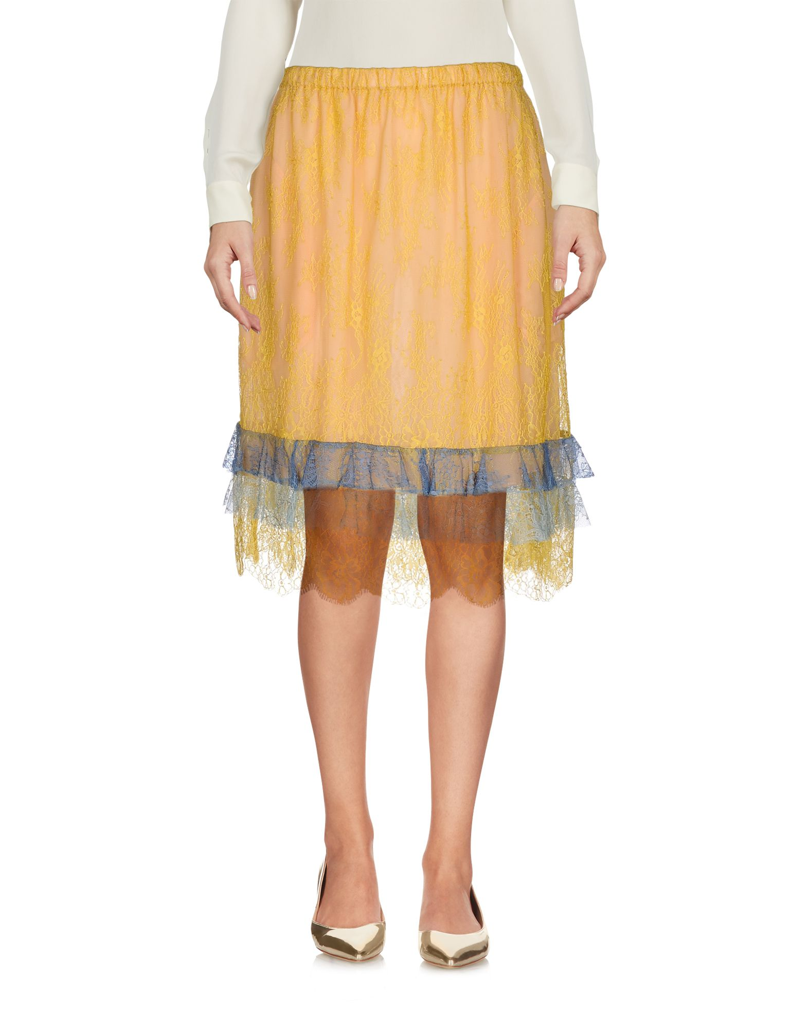 PHILOSOPHY di LORENZO SERAFINI Damen Knielanger Rock Farbe Gelb Größe 6 jetztbilligerkaufen