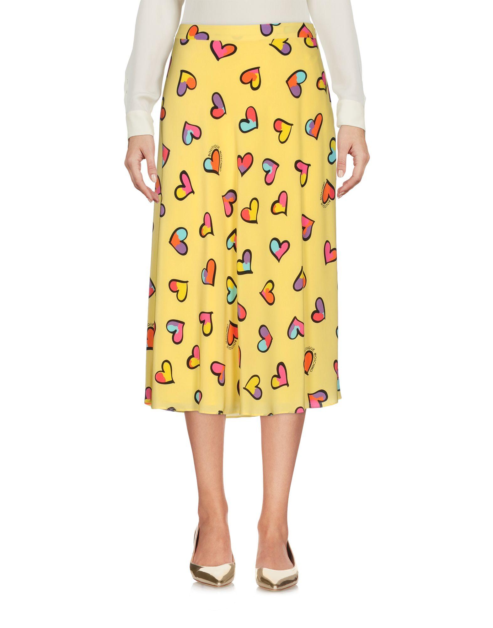 BOUTIQUE MOSCHINO Damen Midirock Farbe Gelb Größe 4 jetztbilligerkaufen