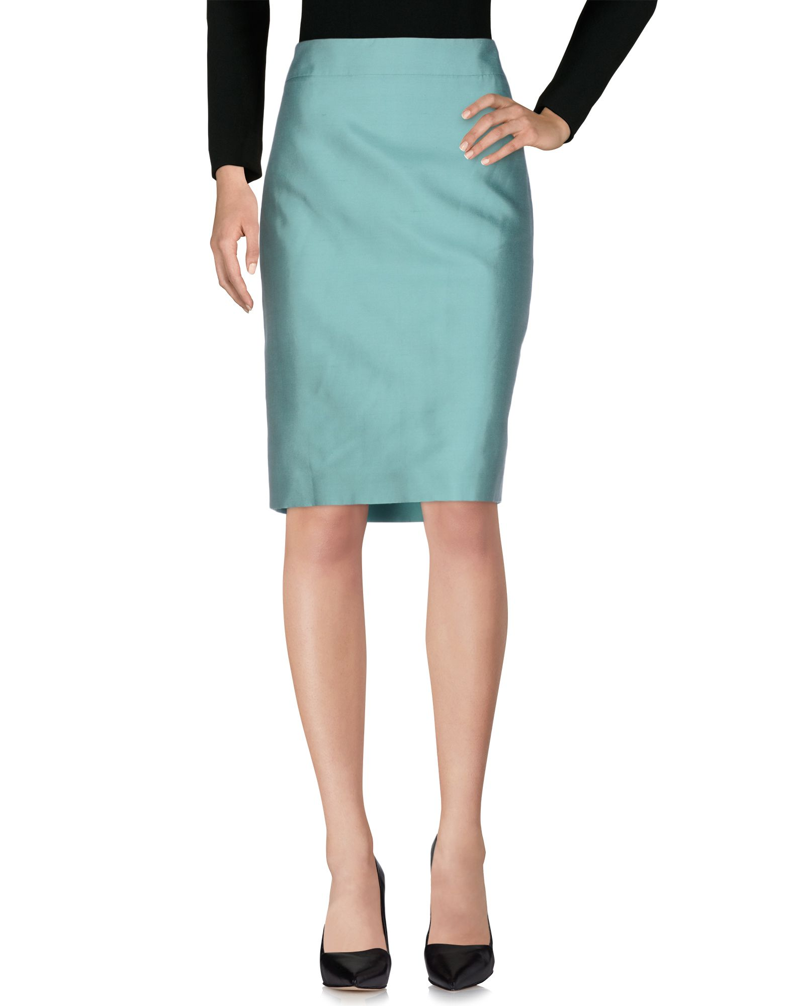《セール開催中》ARMANI COLLEZIONI レディース ひざ丈スカート ライトグリーン 44 シルク 74% / コットン 26%