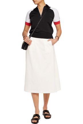 T by ALEXANDER WANG Striped cotton-jersey midi skirt