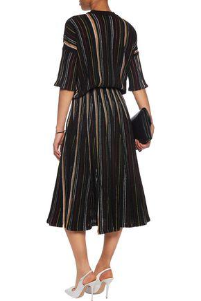 ADAM LIPPES Striped open-knit cotton-blend midi skirt