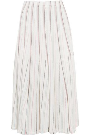 ADAM LIPPES Striped open-knit cotton-blend midi skirt