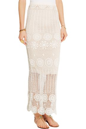 ALICE + OLIVIA Griselda crocheted linen-blend maxi skirt