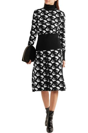 DURO OLOWU Pleated intarsia wool skirt