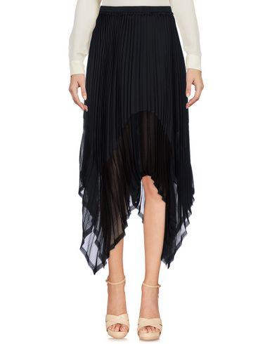 ENZA COSTA Damen Knielanger Rock Schwarz Größe 1 100% Polyester