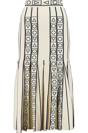 PETER PILOTTO Pleated intarsia-knit midi skirt