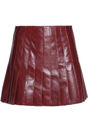BELSTAFF Pleated leather mini skirt