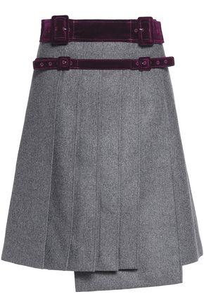 CARVEN Velvet-trimmed pleated wool mini skirt