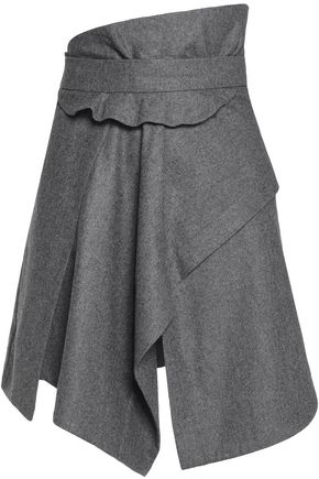 CARVEN Asymmetric wool mini skirt