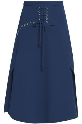 CARVEN Lace-up crepe midi skirt