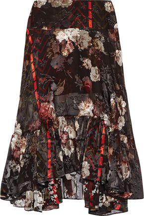 PREEN by THORNTON BREGAZZI Walsh printed devoré silk-blend chiffon midi skirt