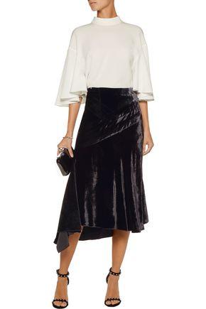 ANTONIO BERARDI Asymmetric velvet midi skirt