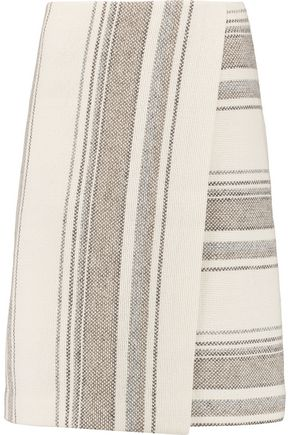 TORY BURCH Baja striped wrap-effect cotton-blend knit skirt
