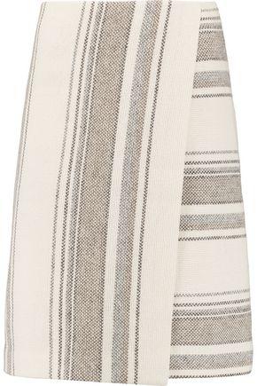 TORY BURCH Baja striped wrap-effect cotton-blend knit skirt