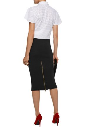 ALICE + OLIVIA Holley zipped ribbed-knit skirt