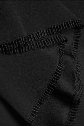 ANTONIO BERARDI Asymmetric pleated crepe midi skirt