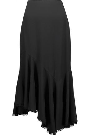 ANTONIO BERARDI Asymmetric pleated crepe midi skirt