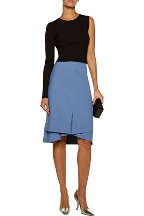 ANTONIO BERARDI Asymmetric pleated crepe skirt