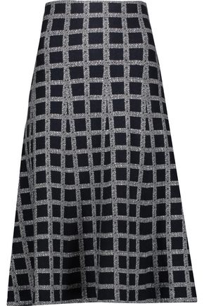 DEREK LAM 10 CROSBY Checked wool-blend midi skirt
