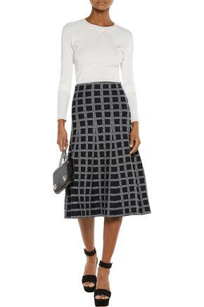 DEREK LAM 10 CROSBY Checked wool-blend midi skirt