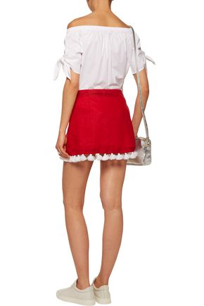 MARCH11 Star tasseled embroidered linen mini skirt